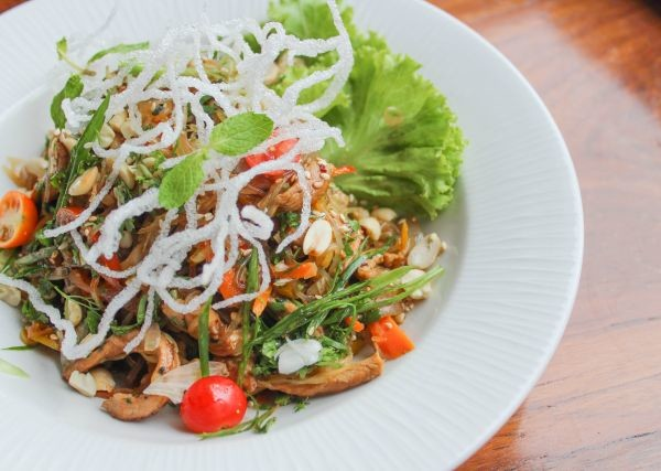 Asian wok tossed chicken and glass noodle salad